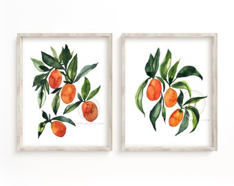 Kumquats Watercolor Prints Set of 2 by HippieHoppy
