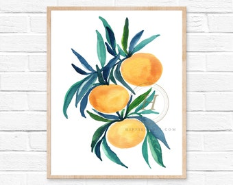 Oranges Art Prints - Orange Fruit Wall Art - Watercolor Orange Prints - Kitchen Art - Kitchen Decor - Watercolor Art
