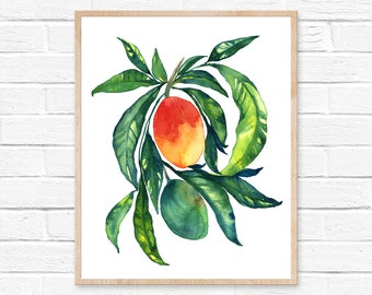 mango watercolor fruit watercolor painting home decor illustration mango watercolor kitchen decor kitchen art fruit painting mango painting