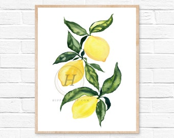 Lemon art print, Watercolor painting, Yellow home decor, Bright wall art, Lemon themed kitchen decor, Food art print