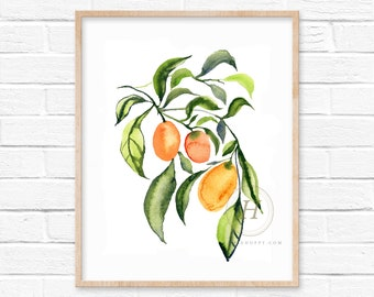 Large Kumquat Watercolor Print Kitchen Art