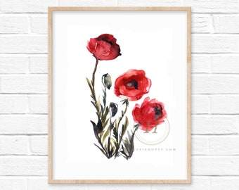 Large Poppy Watercolor Print Wall Art