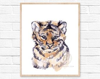 Nursery safari babies, tiger cub, Animal Paintings, watercolor tiger ,baby shower gift idea, Kids decor, nursery decor, neutral nursery art