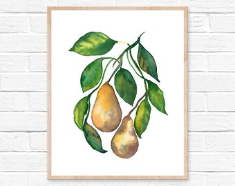 Pear Watercolor Print