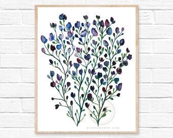 Large Flower, Watercolor Print, Modern Art by HippieHoppy
