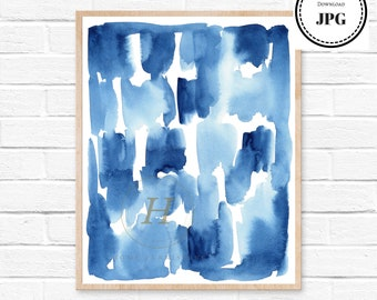Abstract Print, Watercolour Wall Art, Modern Minimalist Painting, Navy Blue, Brush Stroke, Printable Digital Download, Large Poster, Ink Art