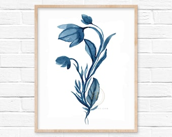 Flower Blue Watercolor Print