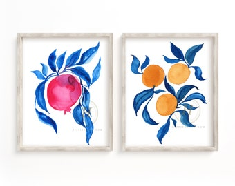 Pomegranate and Orange Watercolor Art Prints set of 2