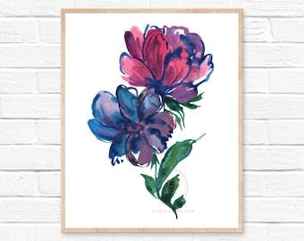 Large Flower, Watercolor Print, Modern Art