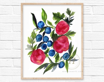 Strawberries and Blueberries Watercolor Print