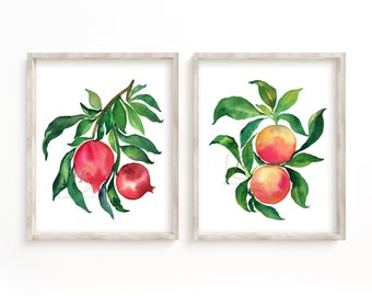 Pomegranate and Grapefruit Watercolor Print