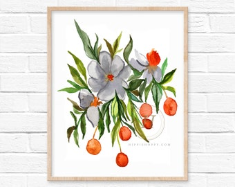 Flowers and Fruit Watercolor Print
