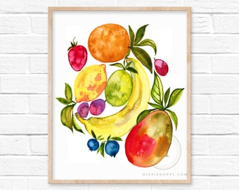 Large Fruit Watercolor Print