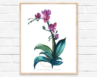 Orchid watercolor art print, Home decor