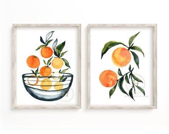 Orange Watercolor Art Prints Set of 2 by HippieHoppy