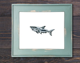 Small Great White 102 Shark Print Art Watercolor Shark Painting Illustration Shark Art Shark Decor Shark Wall Art Shark Wall Decor Coastal