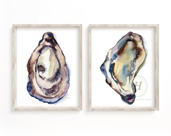 Oysters Watercolor Print set of 2 by HippieHoppy