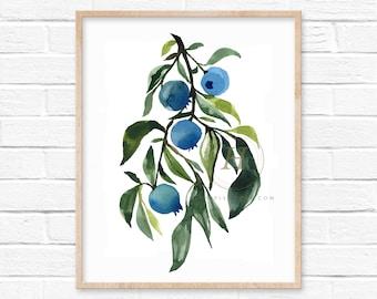 Large Blueberries Watercolor Print Art