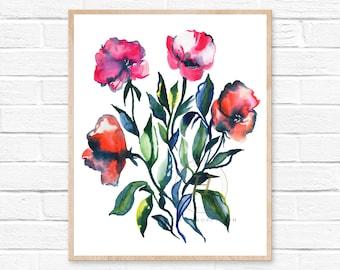 Watercolor Flower Print, Wall Art by HippieHoppy