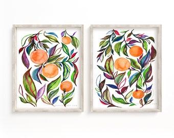 Large Orange Watercolor Art Prints set of 2