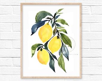 Lemon Watercolor Print Kitchen Art