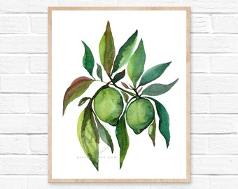 Food Painting, Lime, Fruits Print, Watercolor Print, Cook Print, Kitchen Wall Art, Restaurant Decor, Kitchen Decor