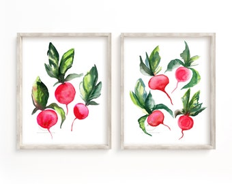 Radish Watercolor Prints Set of 2