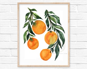 Orange Tree Watercolor Print