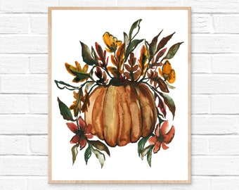 Pumpkin with Flowers, Watercolor Print