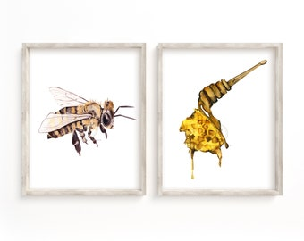 Honey and Bee Watercolor Print Set of 2