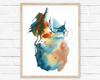 Large Abstract Rust Watercolor Print by HippieHoppy