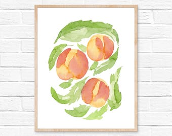 Watercolor Peaches Print No.102, Watercolor Abstract Pech, Peach Art Watercolor Painting, Peach Art Decor, Wall Art Peaches, Kitchen Decor