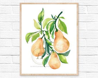 Pears Art Print, kitchen art, yellow pears art print, still life, fruit print, Print of watercolor, minimalist art, watercolor print