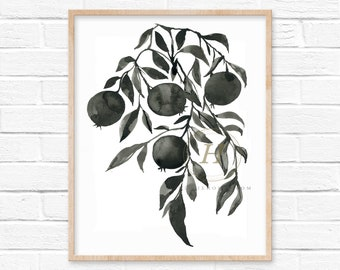 Pomegranate Tree Watercolor Print