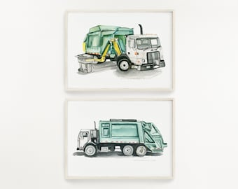 Side Loader Trash Truck and Back Loader Trash Truch Print Set of 2, Watercolor Garbage Truck, Trash Day, Wall Art