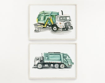 Side Loader Trash Truck and Back Loader Trash Truch Print Set of 2