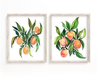 Oranges and Kumquat Watercolor Print Set of 2