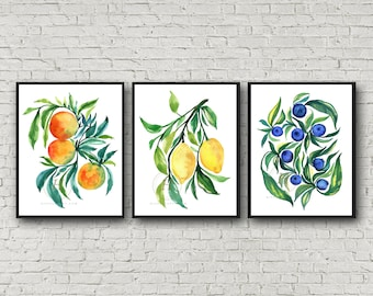 Large Fruit Watercolor Print Wall Art Set