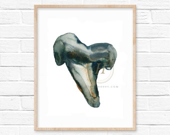 Shark Tooth Watercolor Print