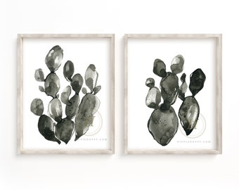 Cactus Watercolor Print Set of 2 Cacti Art