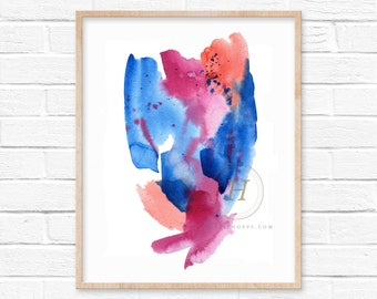Abstract Watercolor Print, Pink, Orange, Blue, Art
