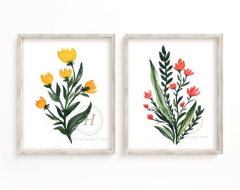 Flower Art Watercolor Prints Set of 2 by HippieHoppy