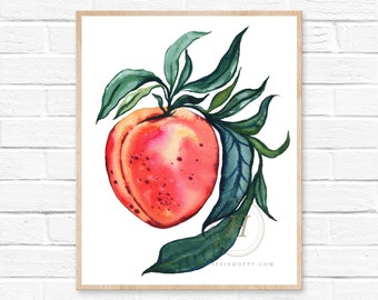 Peaches Watercolor Art Print