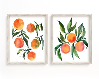 oranges print set of 2 Watercolor Wall Art Kitchen Art