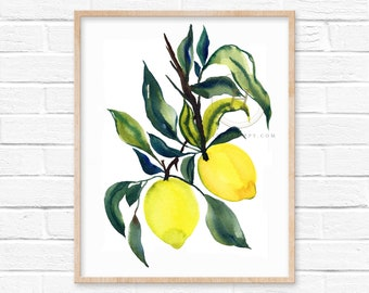 Large Lemon Watercolor Print