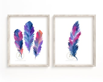 Feather art set, Set prints, Set art prints, Office wall art, Living room art, Watercolor feather, Office posters set, Art feather