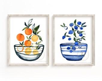 Fruit in Bowl Watercolor Art Print set of 2