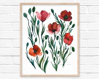 Poppy Watercolor Print by HippieHoppy
