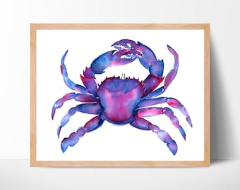 Colorful Crab Crab Watercolor Crab Print Crab Print Watercolor Crab Nautical Art Print Crab Painting Beach Decor Crab Art Crab Art Decor