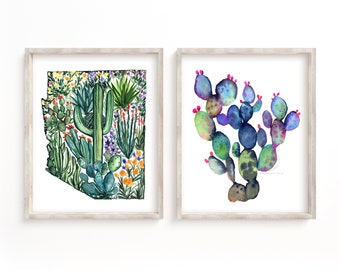 Arizona State Set of 2 Wall Art Watercolor Print Sets